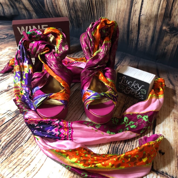 Bebe Shoes - Bebe pink vibrant scarf tie shoes size 8
